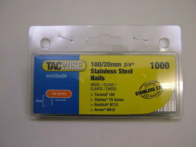 2nd fix Stainless Steel straight brad finish nails 18 gauge 20mm box of 1000