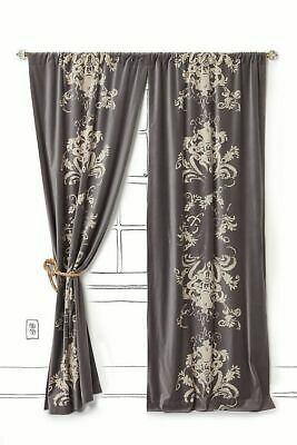 Anthropologie Viceroy Grey Velvet Window Drape Curtain Satin Lined 42 x 96