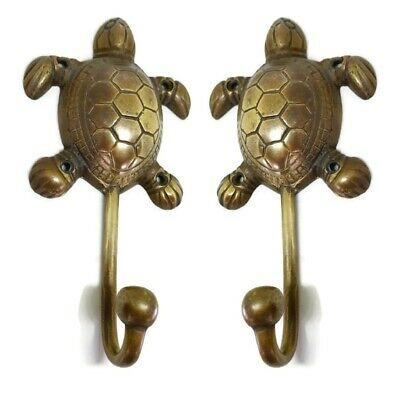 "2 large TURTLE Wall Hook Pure solid 100% Brass aged 6.1/2"" vintage style heavyB"
