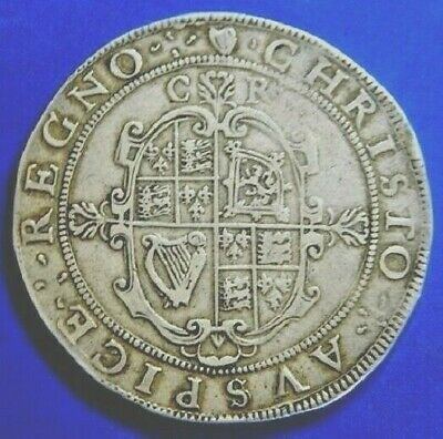 Rare ,Charles 1St Tower Mint Silver Crown ,Mm  Harp 1632-1633, High Grade