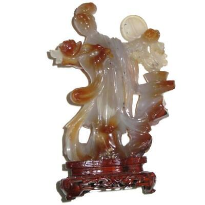"Chinese Carnelian Agate Quan Yin Sculpture with Peony Blooms & Fan 7 1/4"" Tall"