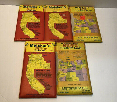 "Lot of 5 Vintage Metsker's Oregon County Maps: ""The Sportsman's Guide"""
