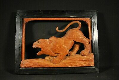 "ANTIQUE 19th C. JAPANESE ""CAT TIGER"" WOOD CARVING"