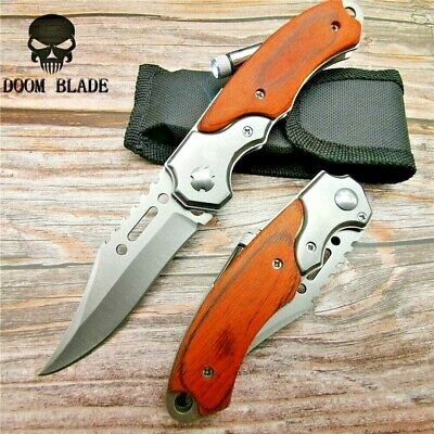 200mm Quick Open Pocket Tactical Folding Survival Hunting Camping Knife Tool LE