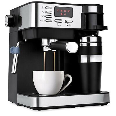 BCP 3-in-1 15-Bar Espresso, Coffee, and Cappuccino Maker w/ Frother, Accessories