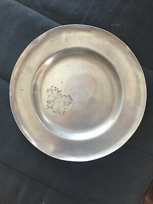 C18/19th Pewter Plate With Marks
