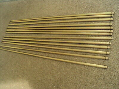 Set Of 13  Vintage Solid  Brass   Stair Rods And  26 Original  Brackets