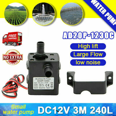 Ultra-quiet Brushless Submersible Water Pump Mini Garden DC12V 3.6W 3m 240L/H