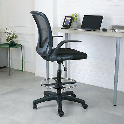 Height Adjustable Mesh Drafting Chair Mid-Back W/ Armrest Office Home Bar Chair