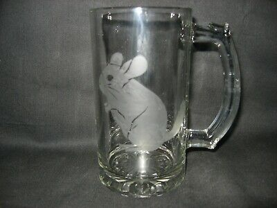 New Etched Chinchilla Glass Root Beer Mug
