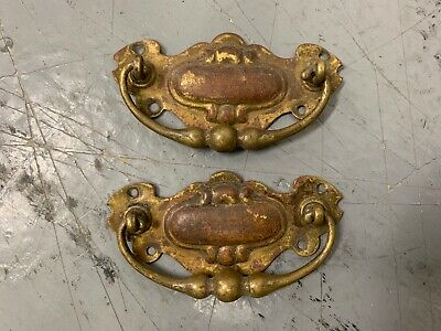 Pair Of Antique Brass Drawer Cabinet Chest Handles