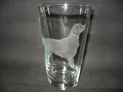 New Etched Flat-Coated Retriever Pint Glass Tumbler