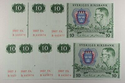 Sweden 10 Kronor, 1987 P-52p.. King Gustaf VI Adolf.. Uncirculated.. Lot 7 Notes