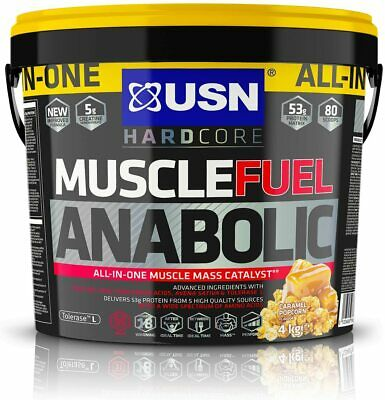 USN MUSCLE FUEL ANABOLIC 4KG - Whey Protein Serious Mass Powder -Caramel Popcorn