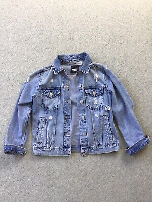 New Look distressed Denim Jacket  With Dragon Back Panel In Age 10-11