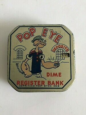 Vintage TIN POPEYE DIME REGISTER BANK - KING FEAT SYND. 1929!