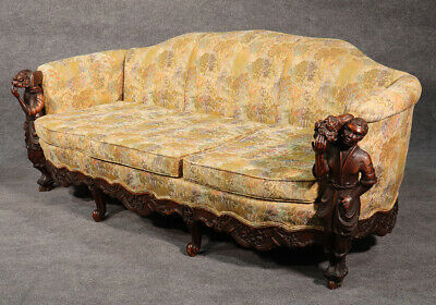 Rare American 1890s Carved Walnut Blackamoor Nubian Sofa Couch Tapestry Fabric