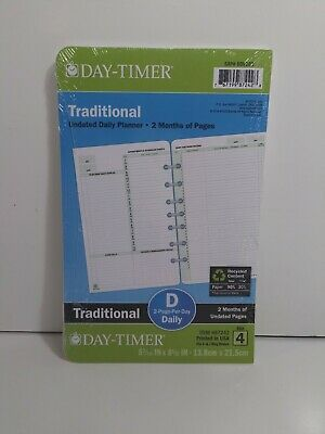 Undated Planner Pages 2-Pages-Per-Day Format Desk Size - Loose-Leaf