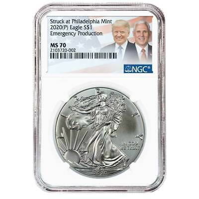 2020 (P) $1 American Silver Eagle NGC MS70 Emergency Production Trump/Pence Labe