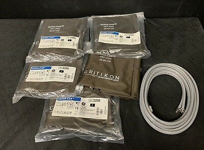 Critikon Ref #2205 Double Bladder Cuff + Hoses *Lot Of 5*