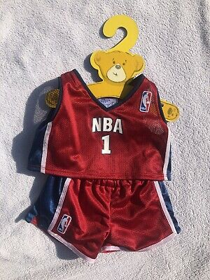 Build a Bear Clothing Basketball Uniform Set NBA Red #1 Red Blue White Excellent