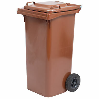 Barrel Bin Bin Waste Bin LT.120 with Wheels Brown
