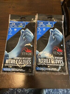 VENOM Chemical Resistant Disposable Nitrile Gloves (2 Packs Of 6 Pairs ) S-M