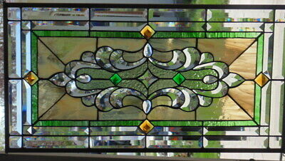 Stained Glass window hanging 30 X16 1/2 BRASS Frame
