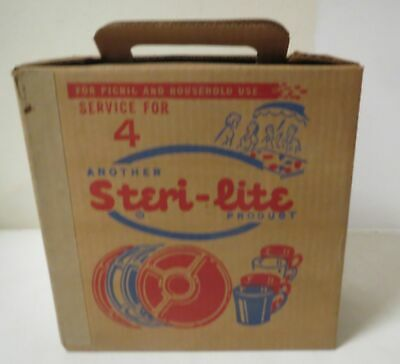 Vintage 1950s STERI-LITE PICNIC SET COMPLETE MINT UNUSED IN BOX setting for 4