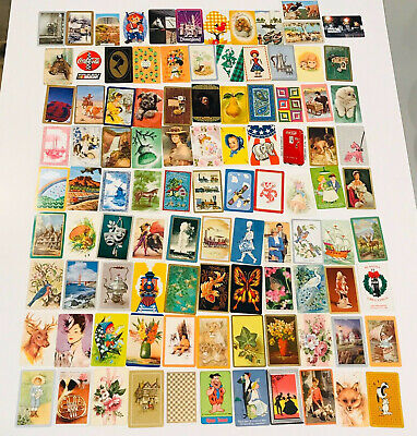 Lot of 100 Vintage Single Swap Playing Cards Dog Horse Animals Women Flowers A5