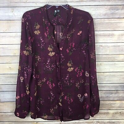 Kut from the Kloth Women's Blouse Size XL Purple Pink Brown Floral Long Sleeve
