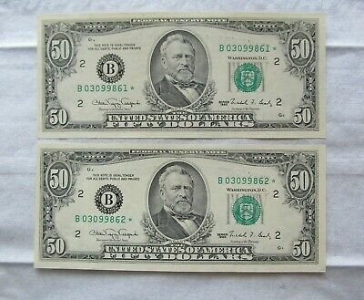 Series 1990 New York/New York Set of 2 sequential $50 STAR Notes Gem Unc!! NICE!