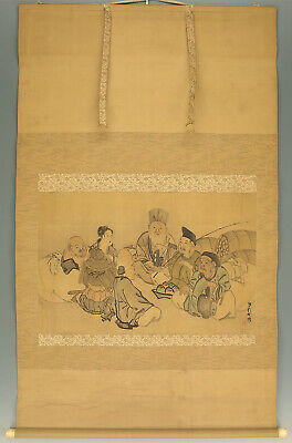 "掛軸1967 JAPANESE BIG HANGING SCROLL ""Seven Lucky Gods""  @zx769"