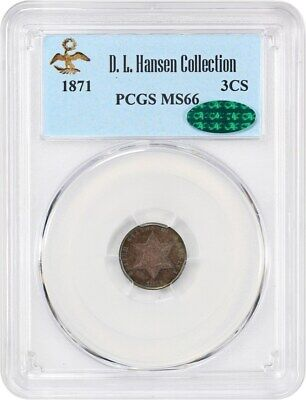 1871 3cS PCGS/CAC MS66 ex: D.L. Hansen - Beautiful Toning - 3-Cent Silver