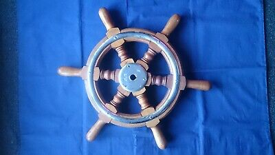 "Large Vintage Wooden Ships wheel 20"" Wood- Nautical maritime Home Decor"