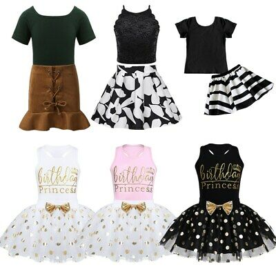 2PCS Infant Baby Girls Birthday Princess Outfit Tops+Skirt Summer Clothes Set
