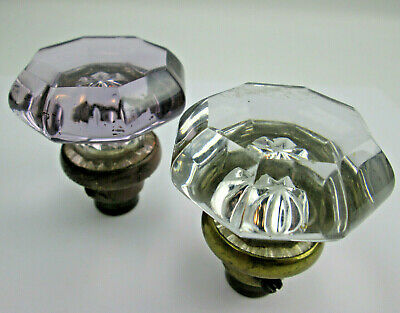 Pair of Older 8 Point Ground top Glass Door Knobs One with Purple Sun Ageing