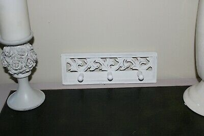 Shabby Chic Triple Wall Hooks,Wood,Wooden,Baroque Style Carvings,Rococo