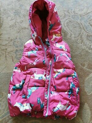 Little Joules Padded Gilet Pink With Horses Age 3 Years