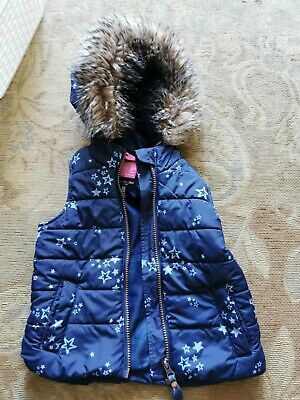Little Joules Navy Star FAUX Fur Trimmed Hooded Gilet Girls Age 3 Years