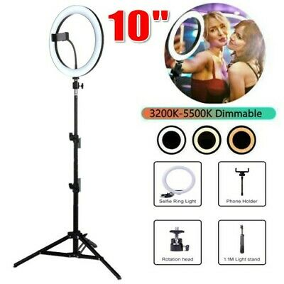 10'' LED Ring Light Dimmable Tripod Diffuser Stand for Youtube Live Selfie Video