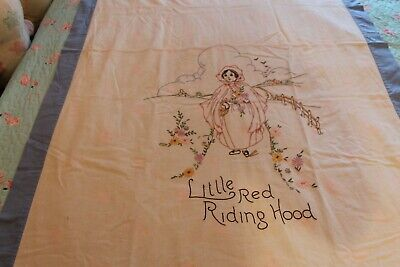 Vintage Hand Stitched Little Red Riding Hood Tablecloth Beautiful