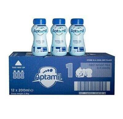 Aptamil First Infant Milk Stage1 Ready Made 0-6 Baby Formula -Pack of 12 x 200ml