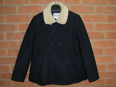 JOHNNIE B Mini Boden Girls Navy Blue Wool Blend Winter Coat Jacket Age 11-12
