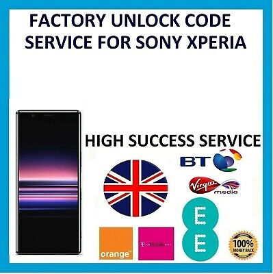Unlock Code Service For Sony Xperia L1 L2 L3 XA1 XA2 XZ1 XZ2 XZ3 EE VIRGIN BT