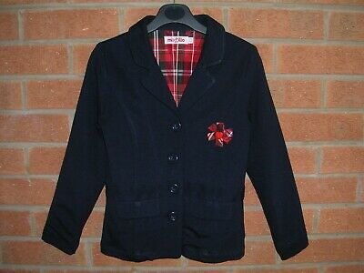 MIXTILLO Girls Navy Blue Designer Blazer Tartan Trims Jacket Coat Age 8 128cm