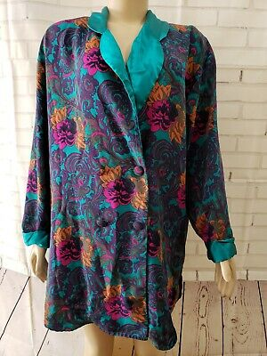 VICTORIA SECRET Floral Poly Satin Double Breasted Shirt Pajama Lounge Top Size M