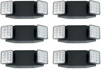 LED Two Head Emergency Light with Battery Back-up Black - 6 Pack
