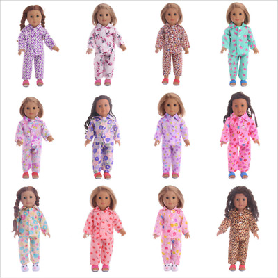 Fits 18 Inch American Girl Doll Accessories Handmade Doll pajamas Two-piece set