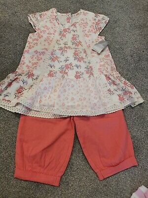 Girls Peach Tunic Top & Trousers Outfit Age 2-3 Yrs Bnwt
